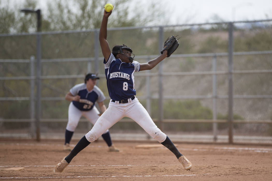 Shadow Ridge's Jasmine Martin (8) pitches against El Camino Real during the softball Spring Jamboree seventh-place game at Majestic Park in Las Vegas, Saturday, March 31, 2018. Erik Verduzco Las V ...