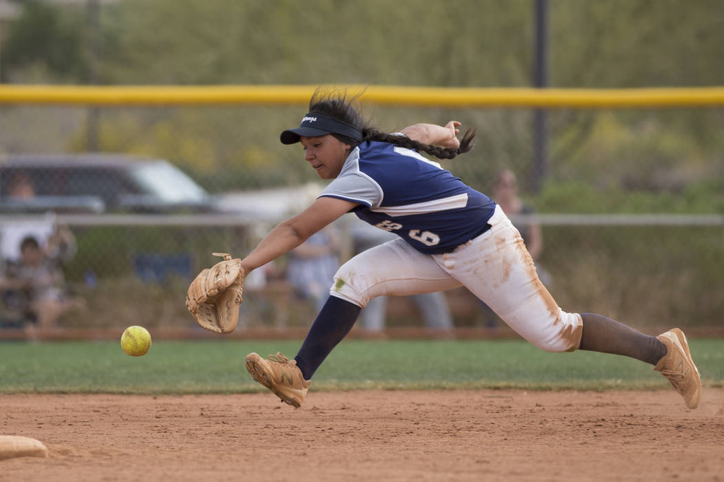 Shadow Ridge's Angelina Esqueda (6) is short for the ball against El Camino Real during the softball Spring Jamboree seventh-place game at Majestic Park in Las Vegas, Saturday, March 31, 2018. Eri ...