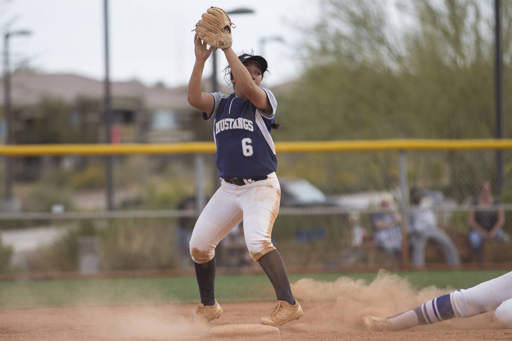 Shadow Ridge's Angelina Esqueda (6) makes a catch for an out against El Camino Real during the softball Spring Jamboree seventh-place game at Majestic Park in Las Vegas, Saturday, March 31, 2018.  ...