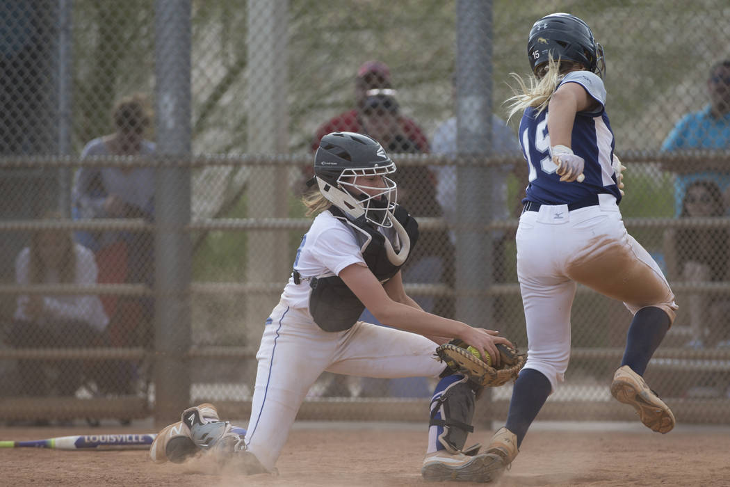 Shadow Ridge's Mia Voges (15) runs home for a run against El Camino Real during the softball Spring Jamboree seventh-place game at Majestic Park in Las Vegas, Saturday, March 31, 2018. Erik Verduz ...