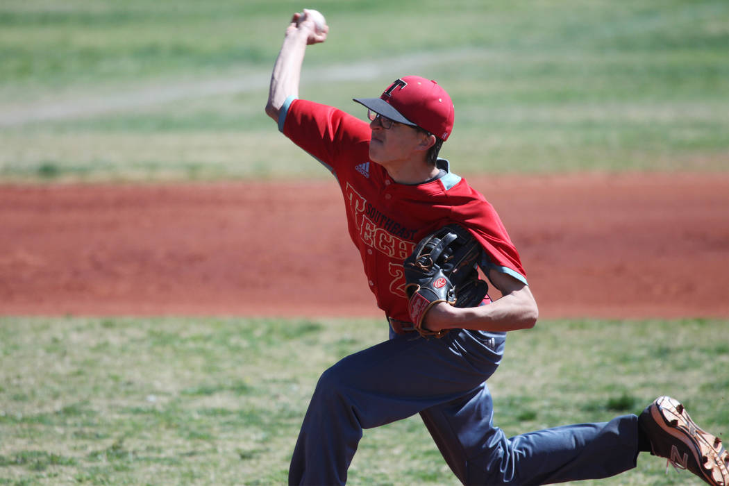 Southeast Career Tech's Matt Martinolich (2) pitches against Chaparral during the Cowboy Classic tournament championship game at Chaparral High School in Las Vegas, Tuesday, March 27, 2018. Erik V ...