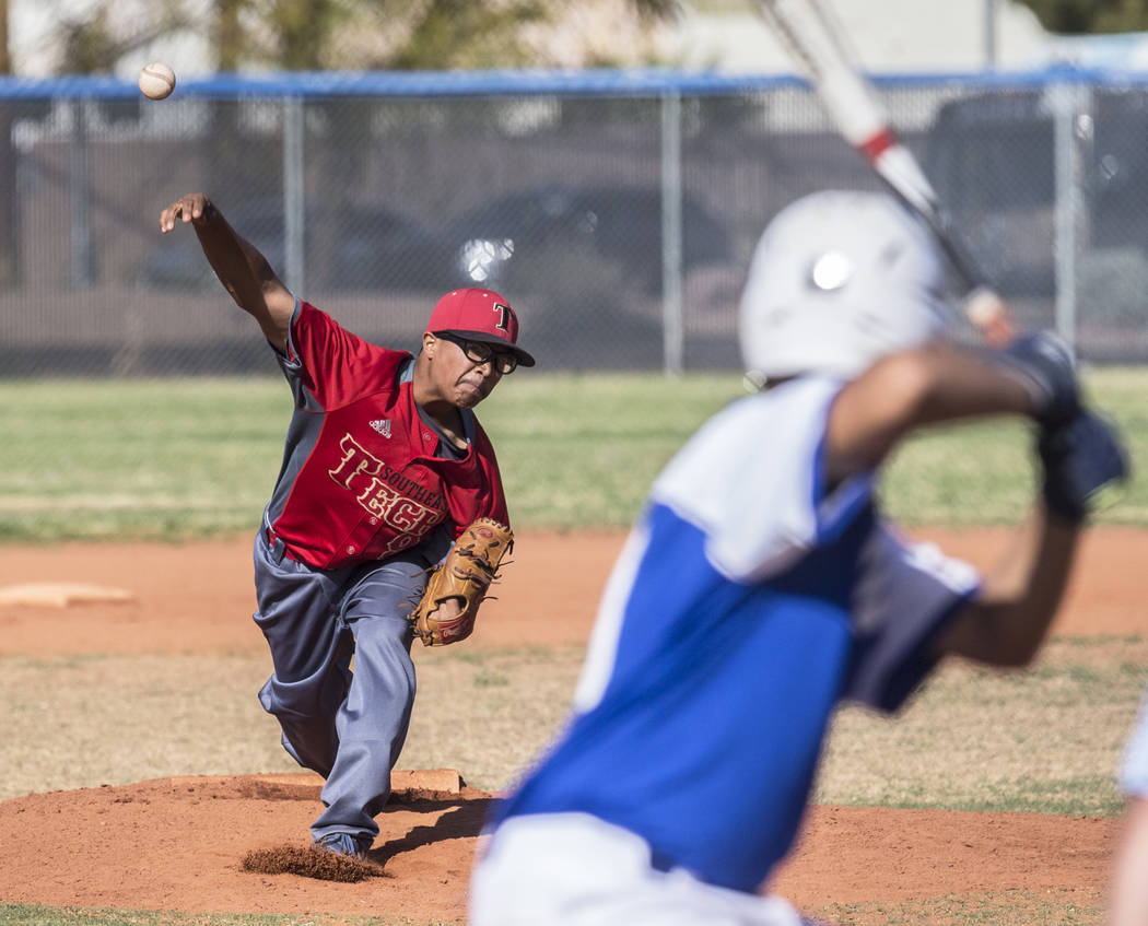 Southeast Career Tech freshman pitcher  Anthony Suazo  delivers to the plate during the Roadrunners road matchup with the Jaguars on Tuesday, April 3, 2018, at Desert Pines High School, in Las Veg ...