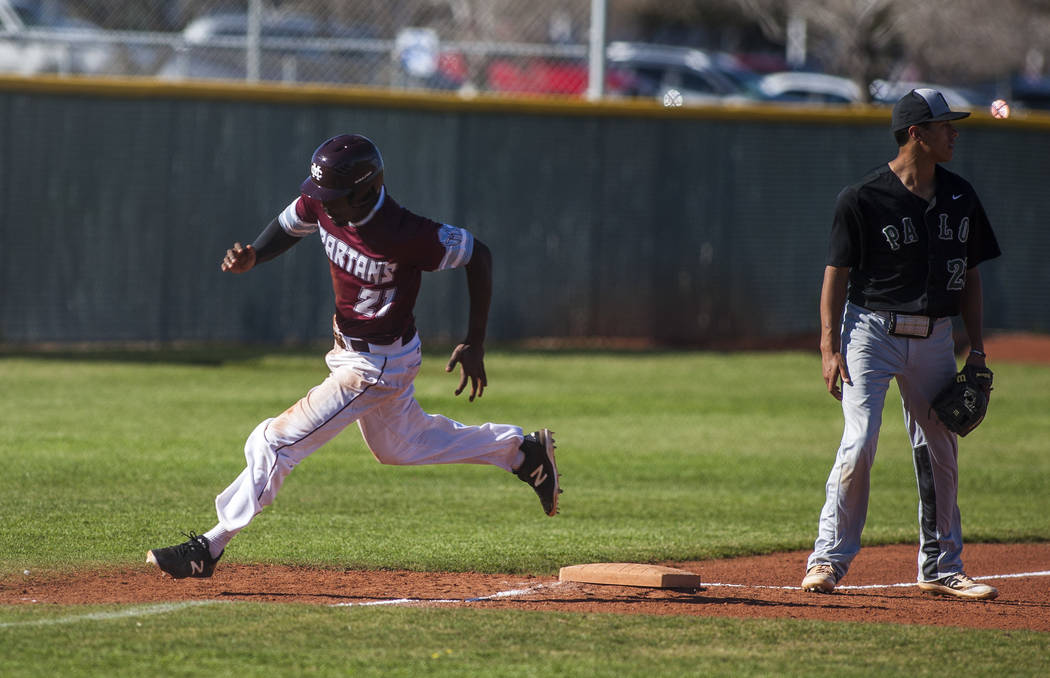 Cimarron-Memorial's Lasith Narasinghe rounds third base while playing against Palo Verde at Cimarron-Memorial High School on Wednesday, March 14, 2018. Palo Verde won 12-8.  Patrick Connolly Las V ...