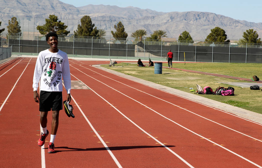 Mojave High School high jumper John Harper arrives for practice at the school Tuesday, April 3, 2018. Harper cleared 6-10 during at a March 20 meet. K.M. Cannon Las Vegas Review-Journal @KMCannonPhoto