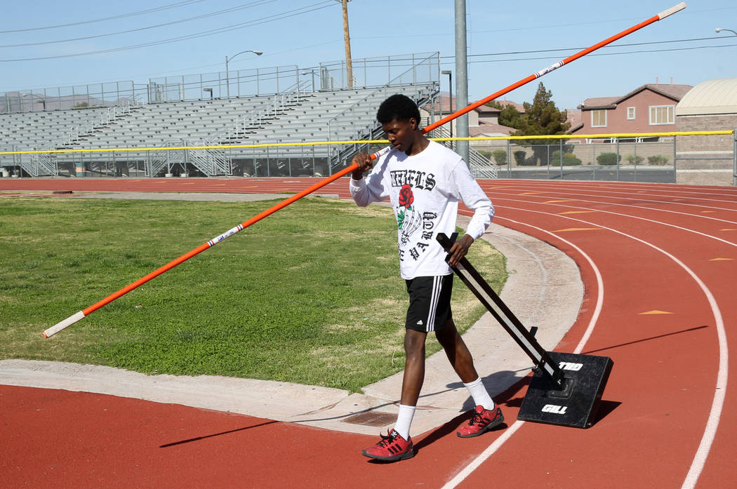 Mojave High School high jumper John Harper prepares for practice at the school Tuesday, April 3, 2018. Harper cleared 6-10 during at a March 20 meet. K.M. Cannon Las Vegas Review-Journal @KMCannon ...
