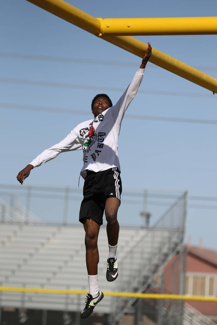 Mojave High School high jumper John Harper warms up for practice at the school Tuesday, April 3, 2018. Harper cleared 6-10 during at a March 20 meet. K.M. Cannon Las Vegas Review-Journal @KMCannon ...