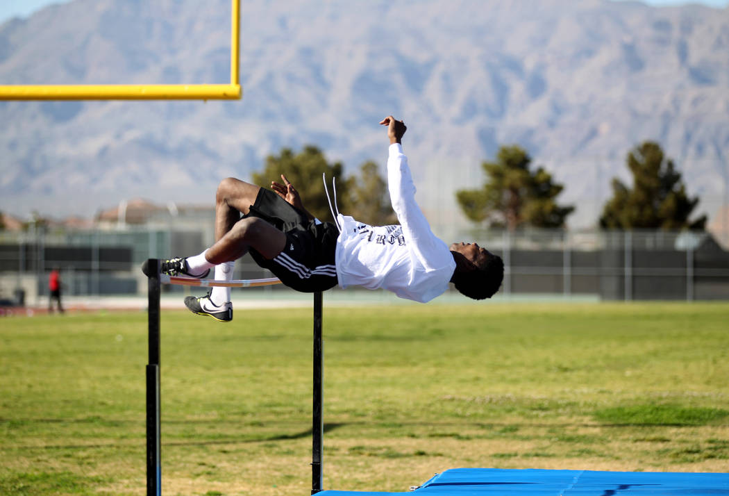 Mojave High School high jumper John Harper clears the bar during practice at the school Tuesday, April 3, 2018. Harper cleared 6-10 during at a March 20 meet. K.M. Cannon Las Vegas Review-Journal  ...