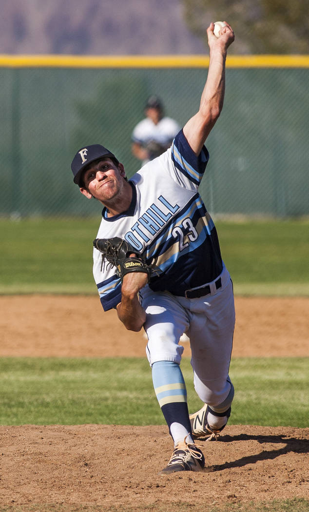 Foothill pitcher Andrew Hauck pitches against Las Vegas during the sixth inning at Foothill High School in Henderson on Wednesday, April 4, 2018. Foothill won 1-0.  Patrick Connolly Las Vegas Revi ...