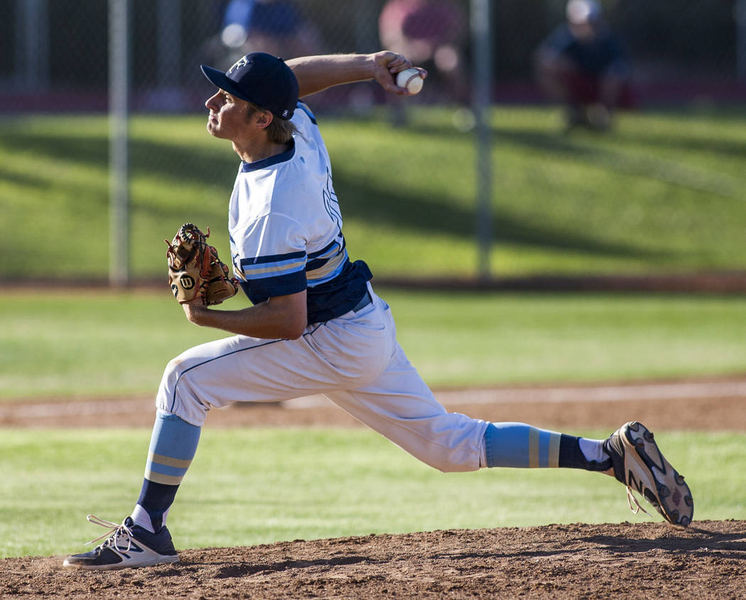 Foothill pitcher Kelton Lachelt pitches against Las Vegas during the seventh inning at Foothill High School in Henderson on Wednesday, April 4, 2018. Foothill won 1-0.  Patrick Connolly Las Vegas  ...