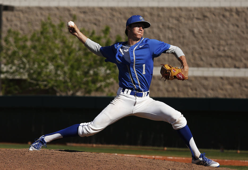 Bishop Gorman's pitcher Parker Aquino (1) pitches against Clearfield during the fourth inning at Bishop Gorman High School in Las Vegas on Thursday, April 5, 2018. Andrea Cornejo Las Vegas Review- ...