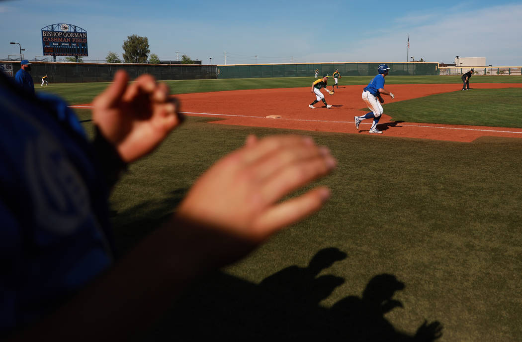 Bishop Gorman plays against Clearfield during the fourth inning at Bishop Gorman High School in Las Vegas on Thursday, April 5, 2018. Andrea Cornejo Las Vegas Review-Journal @dreacornejo