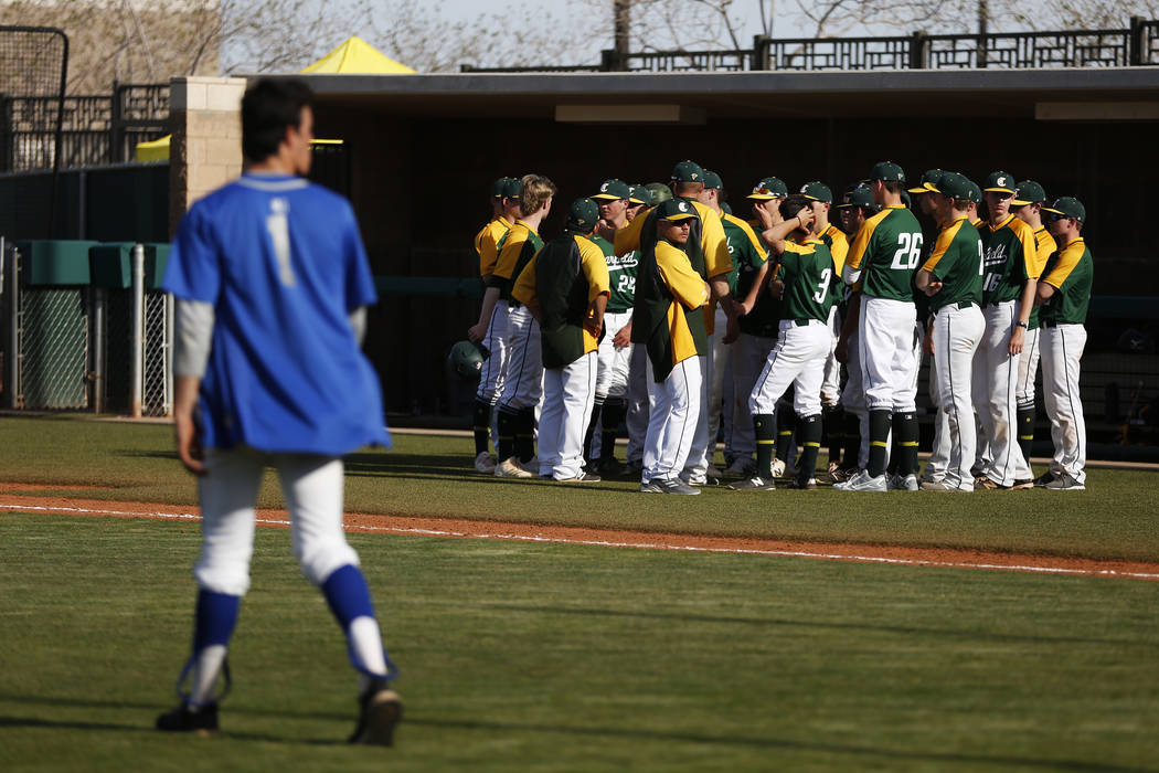 Clearfield players come together after their 6-2 loss against Bishop Gorman at Bishop Gorman High School in Las Vegas on Thursday, April 5, 2018. Andrea Cornejo Las Vegas Review-Journal @dreacornejo