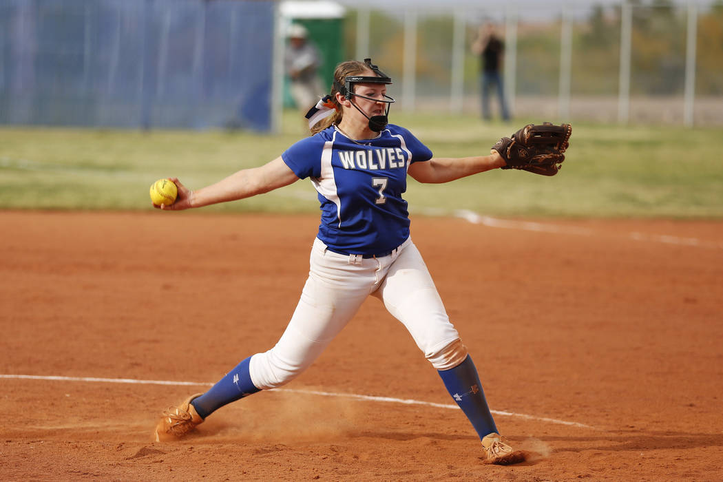 Basic's pitcher Shelby Basso (7) pitches against Coronado at Basic High School in Henderson on Friday, April 6, 2018. Basic won 4-3. Andrea Cornejo Las Vegas Review-Journal @dreacornejo