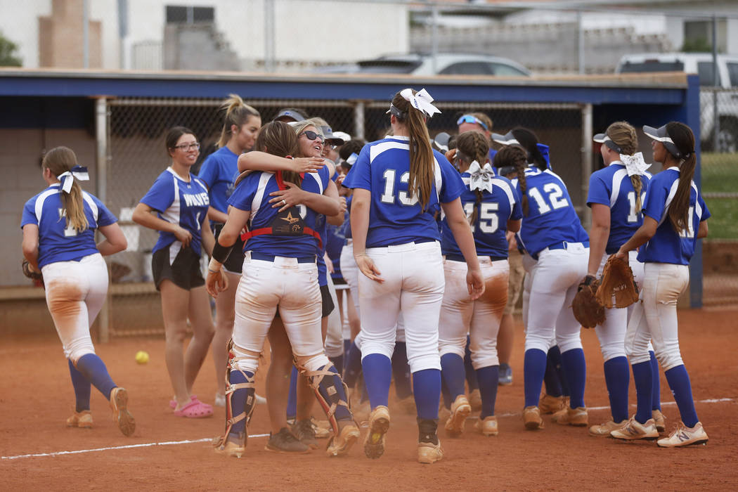 The Basic varsity softball team cheers after defeating Coronado at Basic High School in Henderson on Friday, April 6, 2018. Basic won 4-3. Andrea Cornejo Las Vegas Review-Journal @dreacornejo