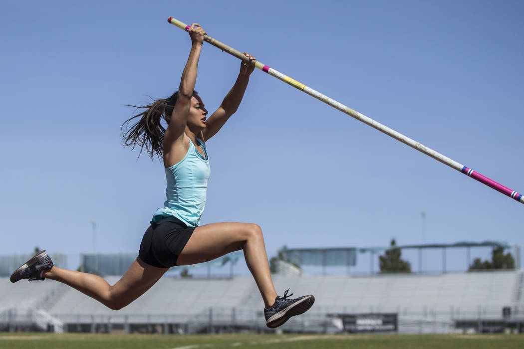 Gabby Carson, one of Nevada's top prep pole vaulters, works on her technique during practice on Monday, April 9, 2018, at Liberty High School, in Las Vegas.  Benjamin Hager Las Vegas Review-Journa ...