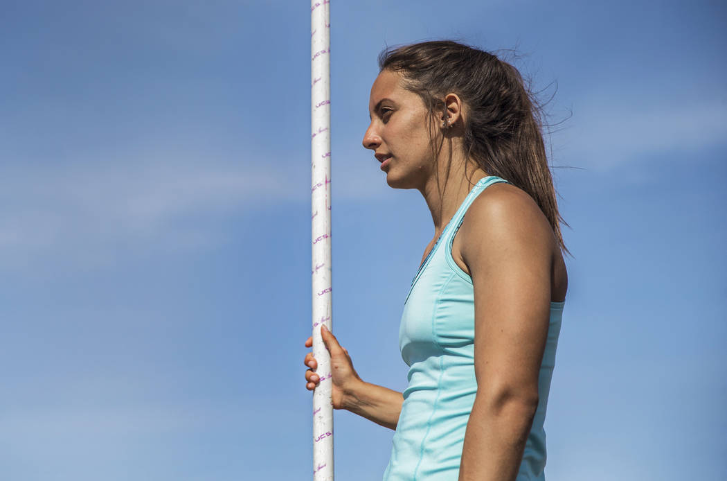 Liberty High School's Gabby Carson is one of Nevada's top prep pole vaulters. Photo taken during practice on Monday, April 9, 2018, at Liberty High School, in Las Vegas.  Benjamin Hager Las Vegas  ...