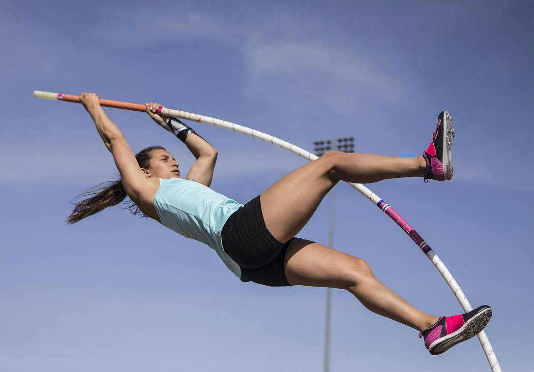 Gabby Carson, one of Nevada's top prep pole vaulters, makes an attempt during practice on Monday, April 9, 2018, at Liberty High School, in Las Vegas.  Benjamin Hager Las Vegas Review-Journal @ben ...