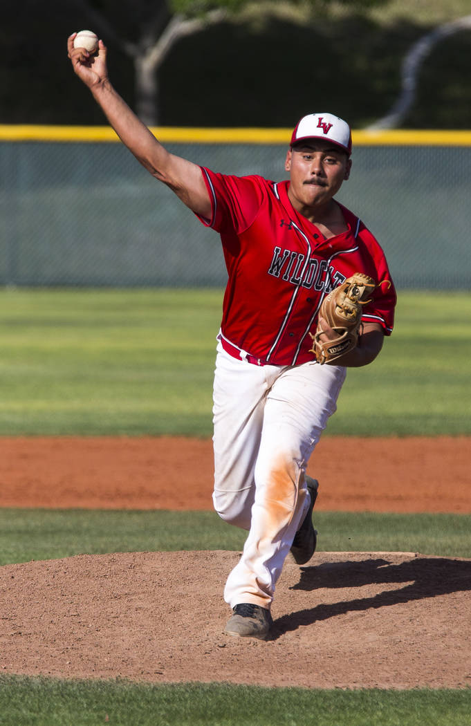 Las Vegas pitcher Daniel Jimenez pitches against Silverado in the fifth inning at Las Vegas High School on Tuesday, April 10, 2018. Las Vegas won 4-3 in the eighth inning.  Patrick Connolly Las Ve ...