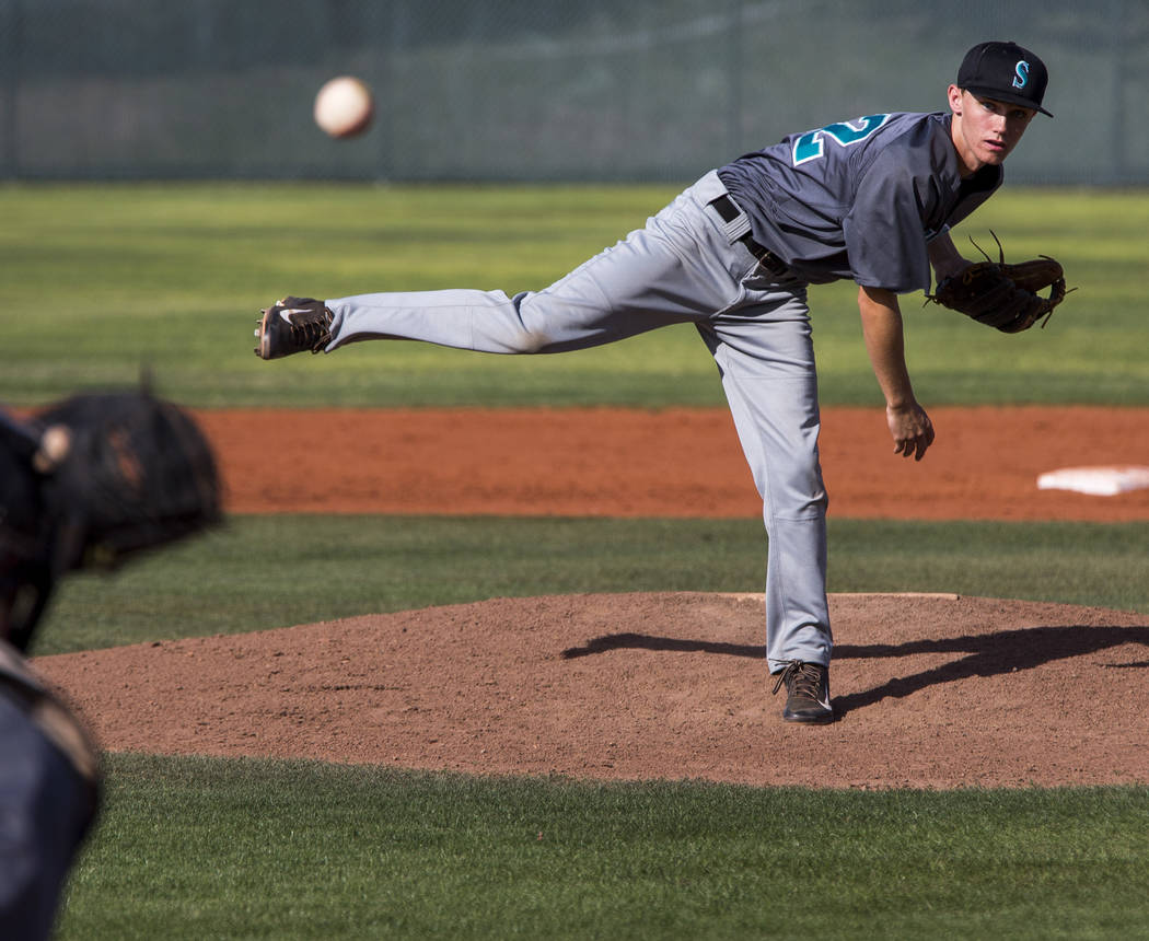 Silverado pitcher Tyler Paasche pitches against Las Vegas during the fifth inning at Las Vegas High School on Tuesday, April 10, 2018. Las Vegas won 4-3 in the eighth inning.  Patrick Connolly Las ...
