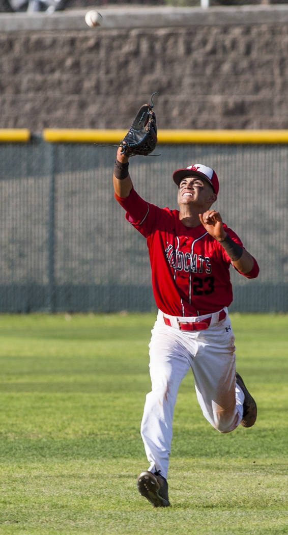 Las Vegas outfielder Kevin Verduzco looks to catch a pop fly from Silverado during the sixth inning at Las Vegas High School on Tuesday, April 10, 2018. Las Vegas won 4-3 in the eighth inning.  Pa ...