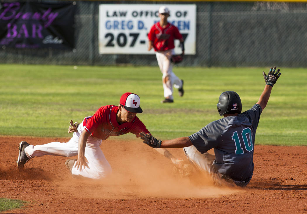 Las Vegas infielder Oliver Haro-Reyes tries to tag out Silverado's Nikolas Cortez at second, but Cortez slides in safe during the sixth inning at Las Vegas High School on Tuesday, April 10, 2018.  ...