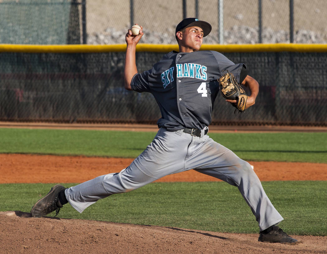 Silverado pitcher Chris Cortez pitches against Las Vegas in the eighth inning at Las Vegas High School on Tuesday, April 10, 2018. Las Vegas won 4-3 in the eighth inning.  Patrick Connolly Las Veg ...