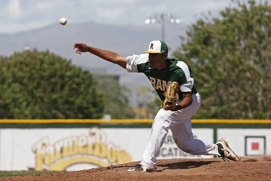 Rancho's pitcher Jimmy Gamboa (99) pitches against Basic during the fifth inning at Rancho High School in Las Vegas on Saturday, April 7, 2018. Rancho won 16-4. Andrea Cornejo Las Vegas Review-Jou ...