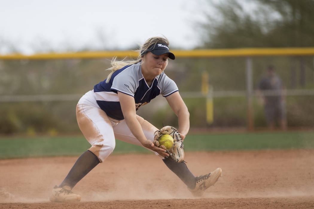 Shadow Ridge's Mia Voges (15) catches a ground ball before throwing it for an out at first base against El Camino Realduring the fifth inning of the softball Spring Jamboree seventh-place ga ...