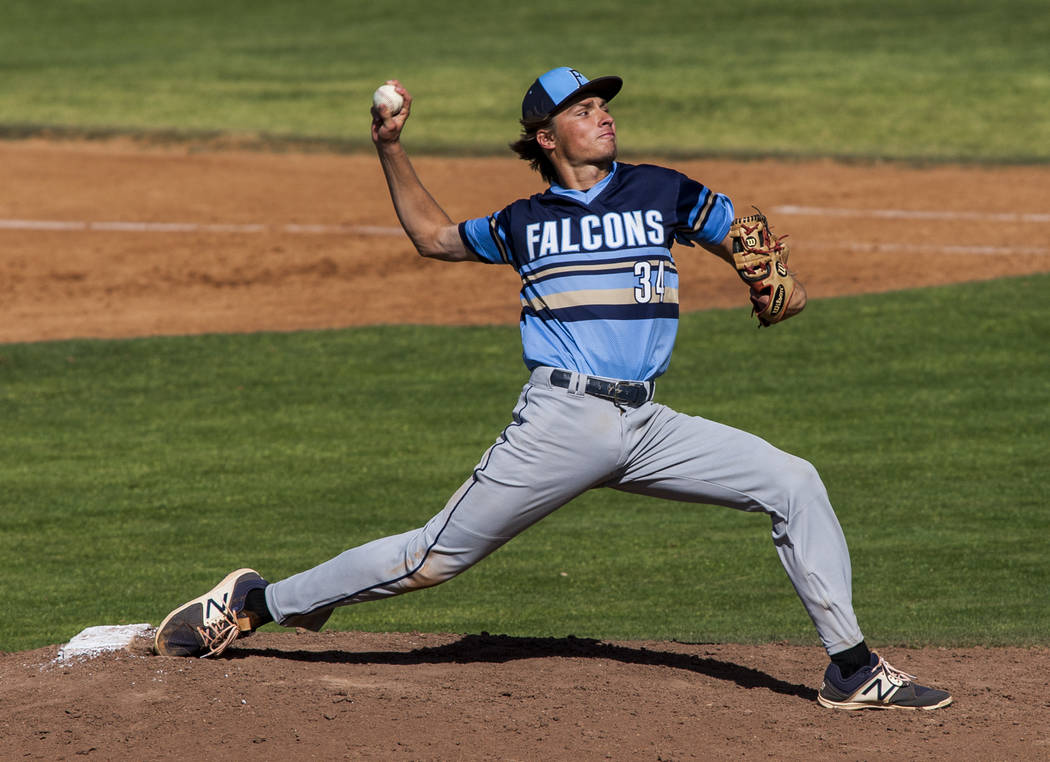 Foothill pitcher Kelton Lachelt pitches against Green Valley during the third inning at Green Valley High School on Thursday, April 12, 2018. Green Valley won 5-3. Patrick Connolly Las Vegas Revi ...