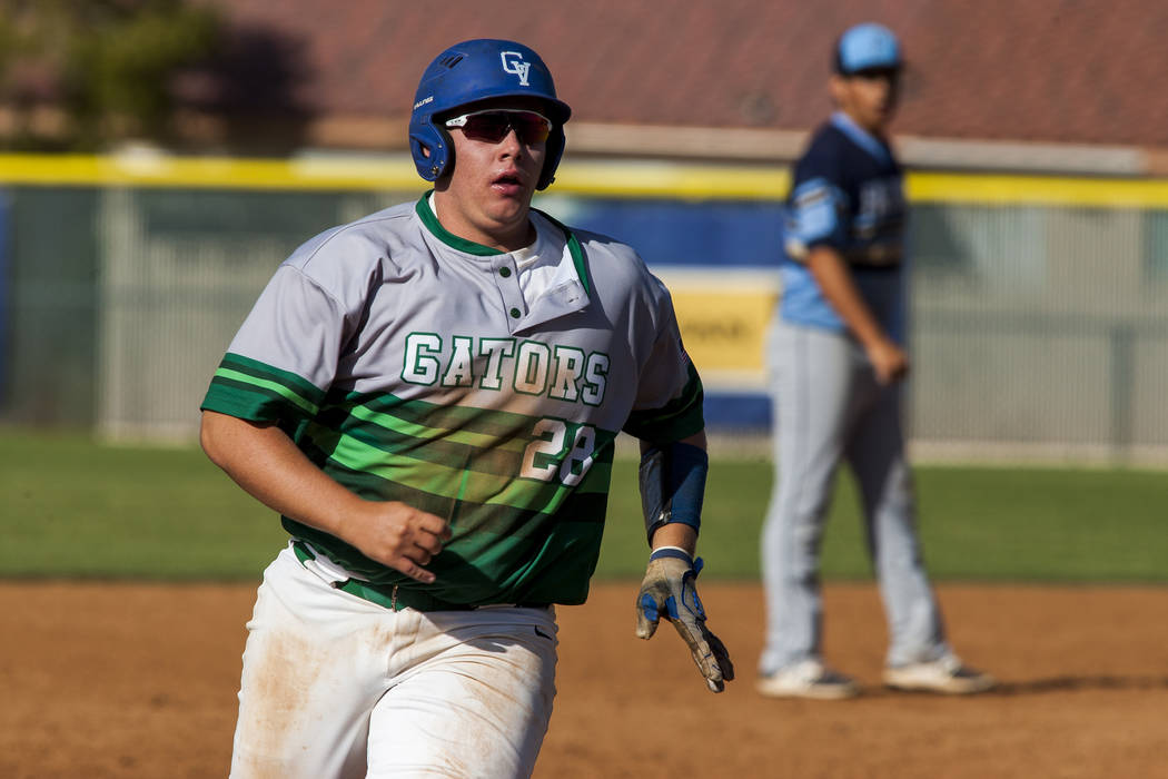 Green Valley first baseman Colton Rambur runs toward home during the fifth inning while playing against Foothill at Green Valley High School on Thursday, April 12, 2018. Green Valley won 5-3. Pat ...