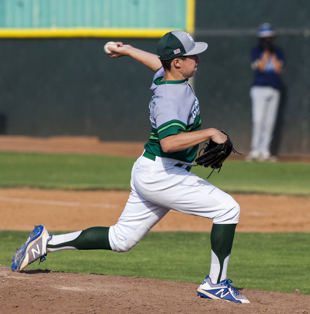 Green Valley pitcher Joe DiGiacomo pitches against Foothill in the sixth inning at Green Valley High School on Thursday, April 12, 2018. Green Valley won 5-3. Patrick Connolly Las Vegas Review-Jo ...