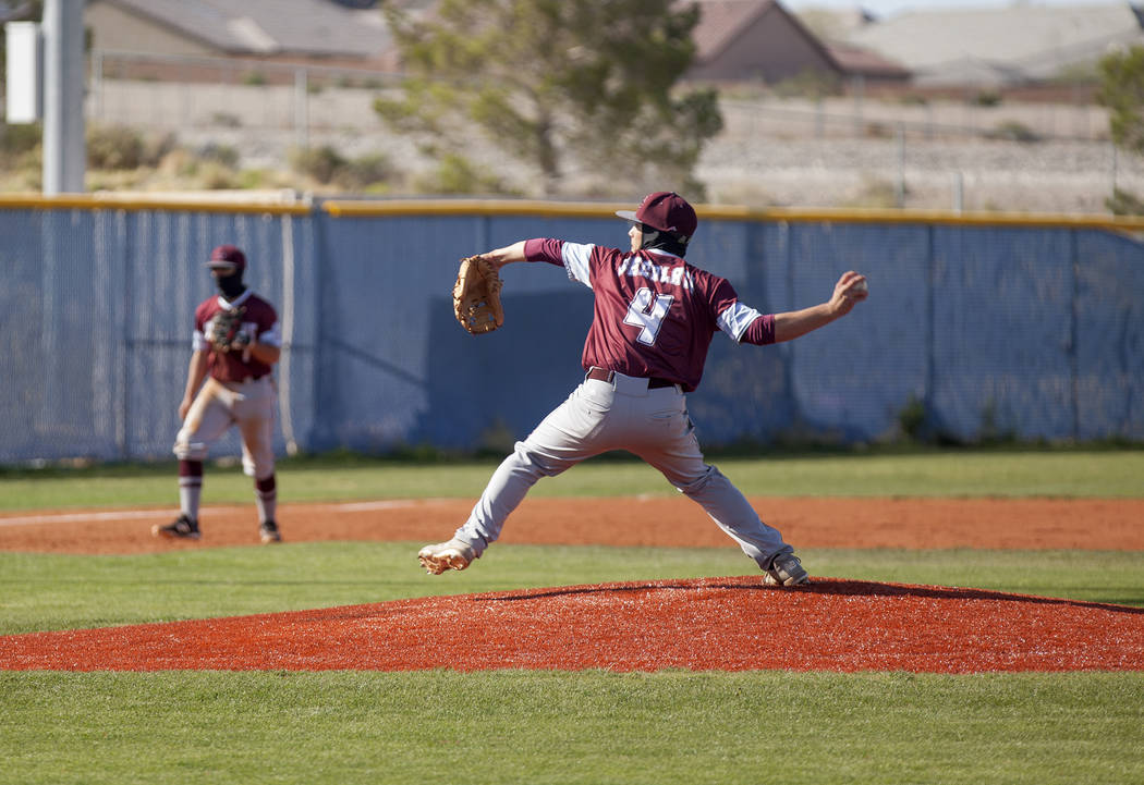 Cimarron-Memorial High School's Derek Decolati (4) pitches the ball against Centennial High School in a game at Centennial High School in Las Vegas, Friday, April 13, 2018. Rachel Aston Las Vegas ...