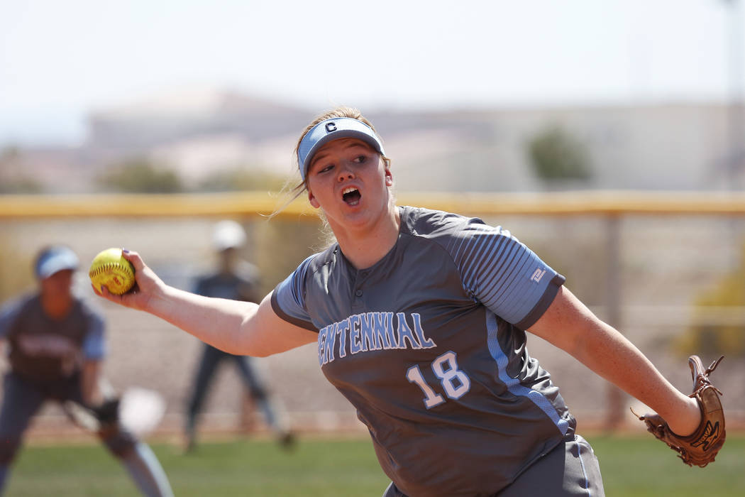 Centennial's pitcher Amanda Sink (18) pitches against North High School in the first inning during the Spring Jamboree 2018 at Majestic Park in Las Vegas on Thursday, March 29, 2018. Centennial wo ...