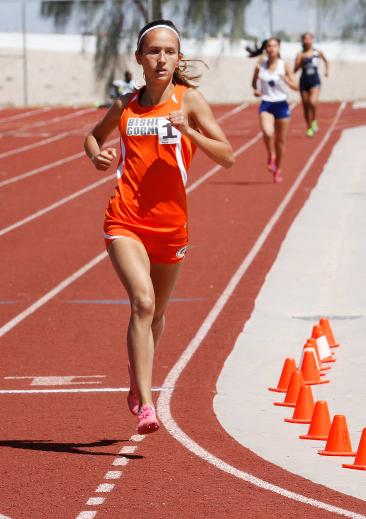 Bishop Gorman freshman Emilia Puskas (1) competes during the girls' 1600m during Blaine Thompson-Las Vegas Track Classic at Desert Oasis High School in Las Vegas, Saturday, April 14, 2018. Puskas ...