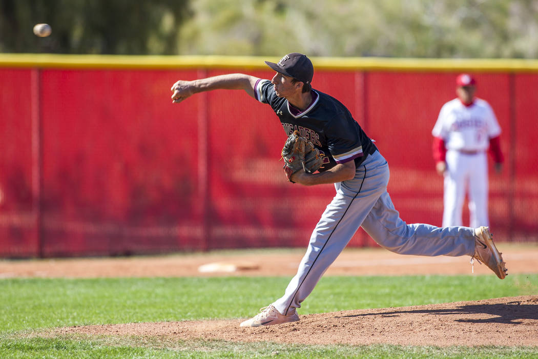 Faith Lutheran pitcher Michael Rice pitches against Arbor View during the second period at Arbor View High School in Las Vegas on Tuesday, April 17, 2018. Arbor View won 11-5. Patrick Connolly L ...