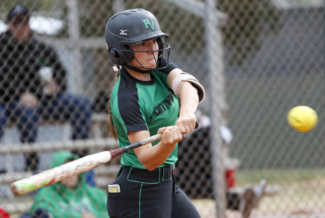 Palo Verde's Makall Whetten bats against Centennial during a softball game at Palo Verde High School in Las Vegas on Thursday, April 19, 2018. Richard Brian Las Vegas Review-Journal @ve ...