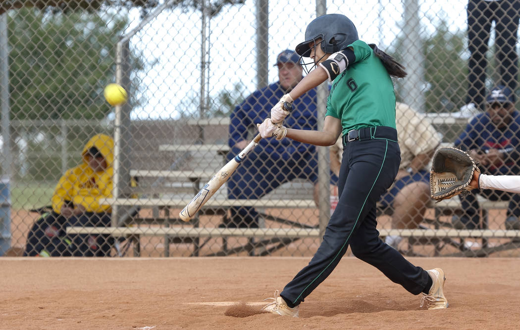 Palo Verde's Alyssa Lybbert bats against Centennial during a softball game at Palo Verde High School in Las Vegas on Thursday, April 19, 2018. Richard Brian Las Vegas Review-Journal @ve ...