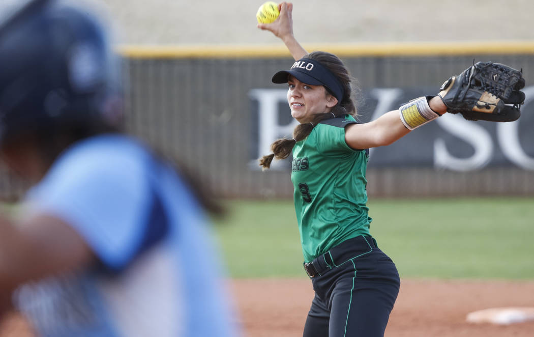Palo Verde's Taylor Askland pitches against Centennial during a softball game at Palo Verde High School in Las Vegas on Thursday, April 19, 2018. Richard Brian Las Vegas Review-Journal ...