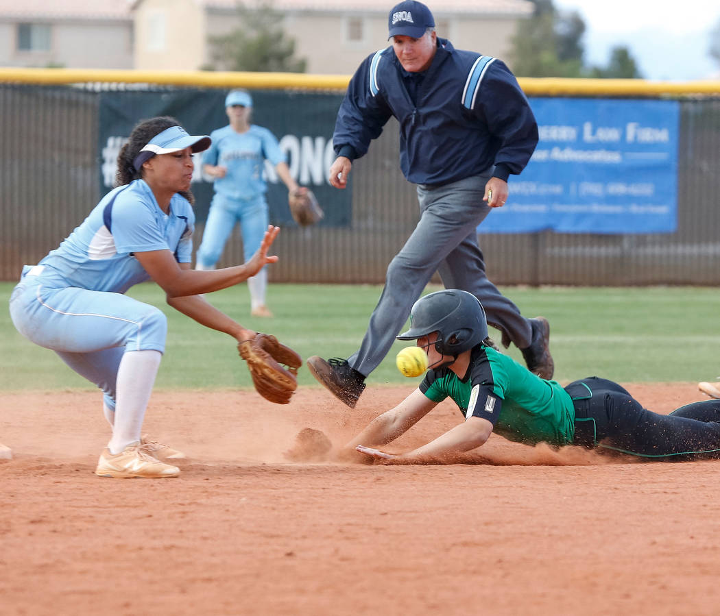 Palo Verde's Makall Whetten, right, steals second base during the sixth inning as Centennial's Kiana Tate tries to catch the throw during a softball game at Palo Verde High School i ...