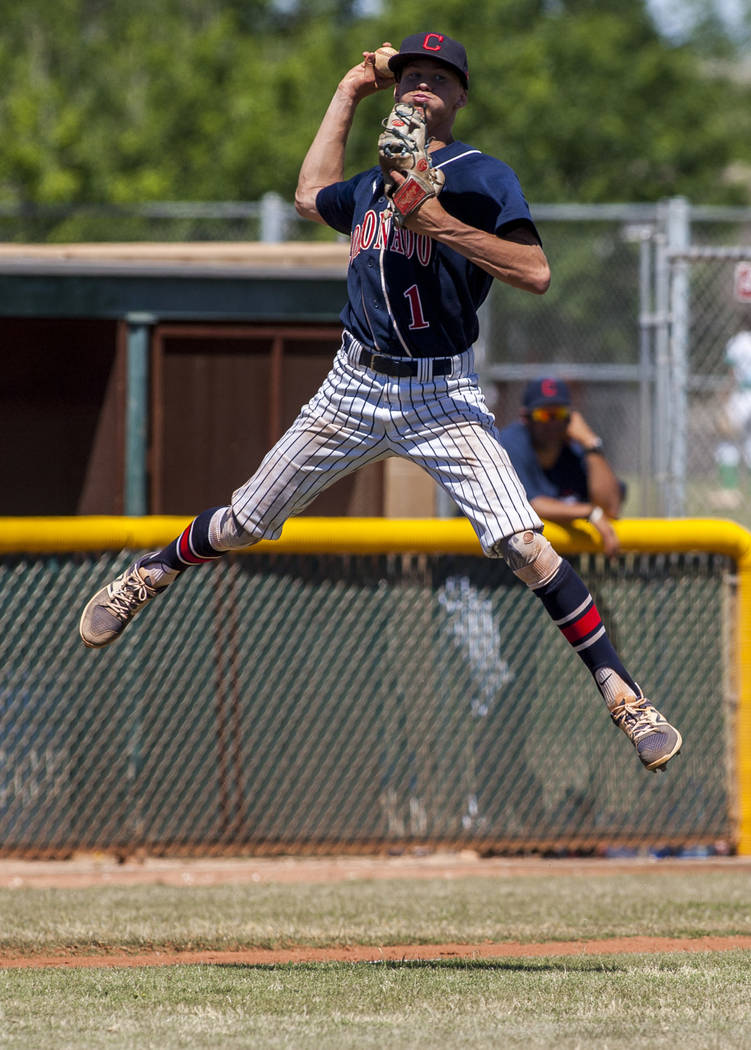 Coronado pitcher Joey Calvert gets some air time while looking for a play at first while playing against Rancho in the fifth inning at Rancho High School in Las Vegas on Saturday, April 21, 2018. ...