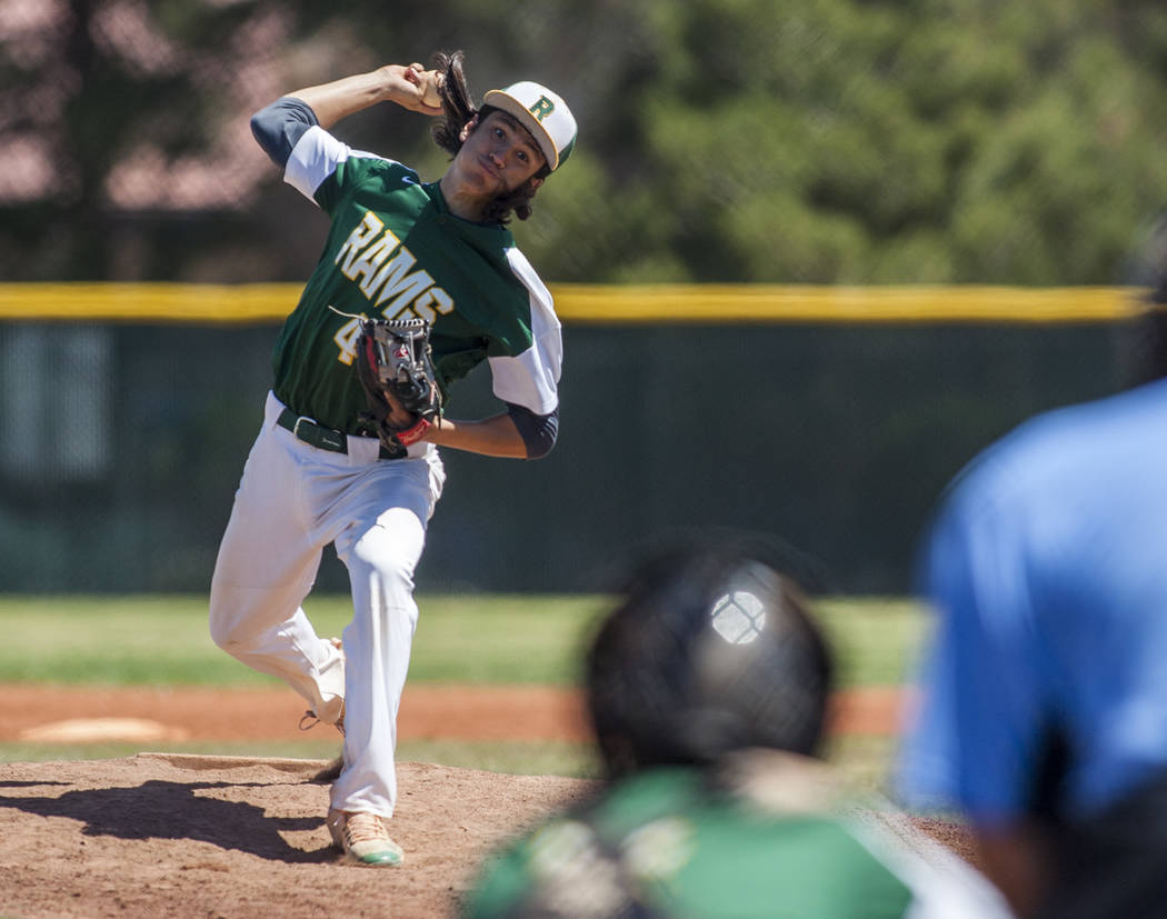 Rancho pitcher Layton Walls pitches against Coronado during the sixth inning at Rancho High School in Las Vegas on Saturday, April 21, 2018. Rancho won 5-1. Patrick Connolly Las Vegas Review-Jour ...