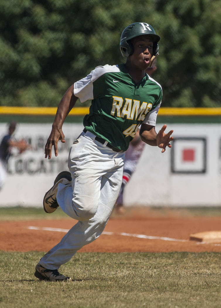 Rancho's Elijah Jordan runs toward home while playing against Coronado during the sixth inning at Rancho High School in Las Vegas on Saturday, April 21, 2018. Rancho won 5-1. Patrick Connolly Las ...