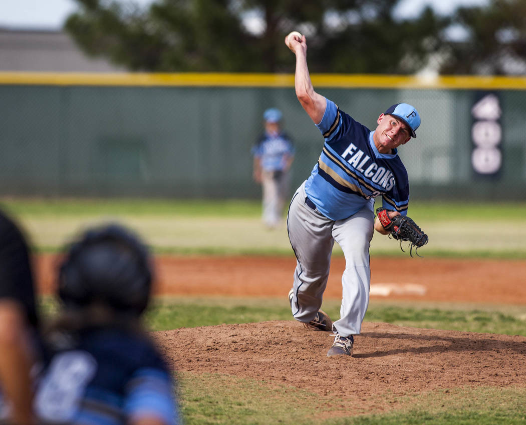 Foothill pitcher Tyler Kara pitches against Coronado in the fourth inning at Coronado High School on Tuesday, April 24, 2018. Coronado won 12-2. Patrick Connolly Las Vegas Review-Journal @PConnPie