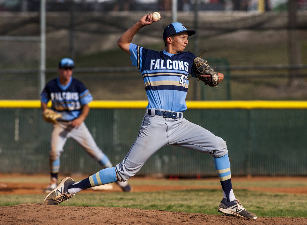 Foothill pitcher Evan Ringler pitches against Coronado in the fifth inning at Coronado High School on Tuesday, April 24, 2018. Coronado won 12-2. Patrick Connolly Las Vegas Review-Journal @PConnPie
