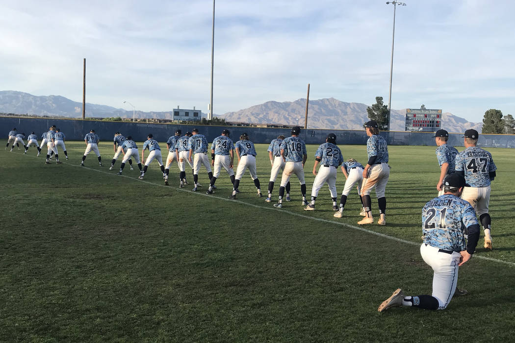 Centennial players stretch after their 11-6 home victory over Rancho in Las Vegas, Friday, May 4, 2018. Sam Gordon/Las Vegas Review-Journal.