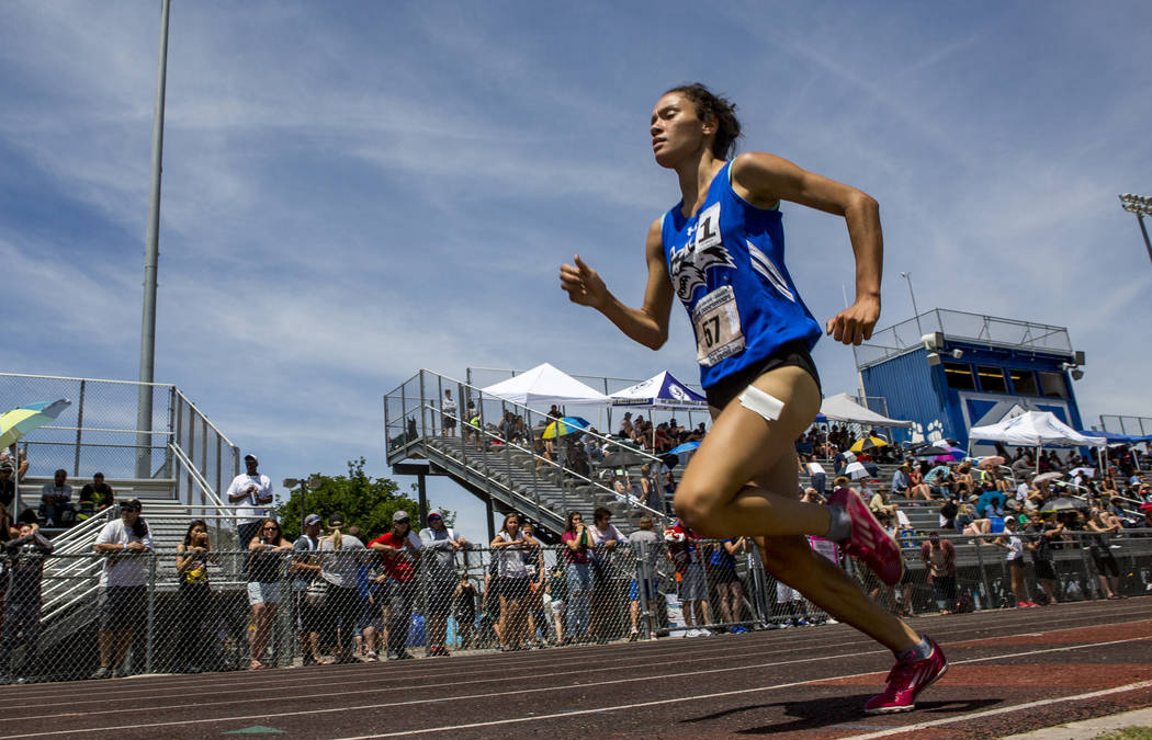 Basic junior Raquel Chavez runs in the 1,600-meter run, finishing first with a time of 5:26.16 at Basic High School on Saturday, May 5, 2018. Patrick Connolly Las Vegas Review-Journal @PConnPie