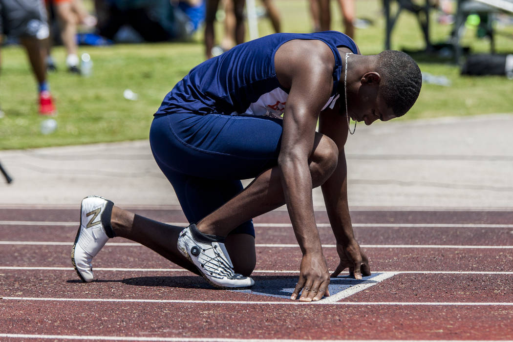 Legacy senior sprinter Jeriel Thomas prepares to run in the 400-meter sprint, ultimately winning his heat in 48.73 seconds, at Basic High School on Saturday, May 5, 2018. Patrick Connolly Las Veg ...