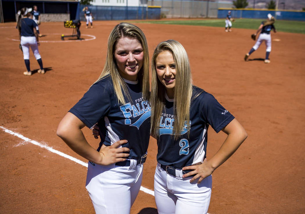 Sisters Leah, left, and Kylie Becker, who both play softball for Foothill, at Foothill High School on Friday, May 5, 2018. Patrick Connolly Las Vegas Review-Journal @PConnPie