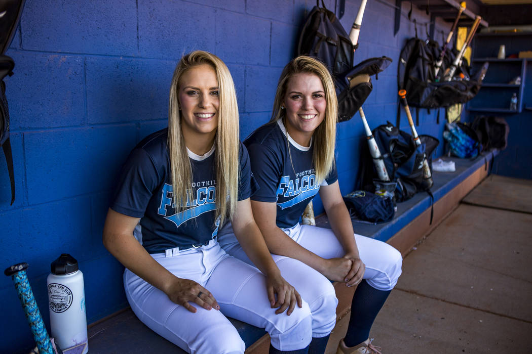 Sisters Kylie, left, and Leah Becker, who both play softball for Foothill, at Foothill High School on Friday, May 5, 2018. Patrick Connolly Las Vegas Review-Journal @PConnPie