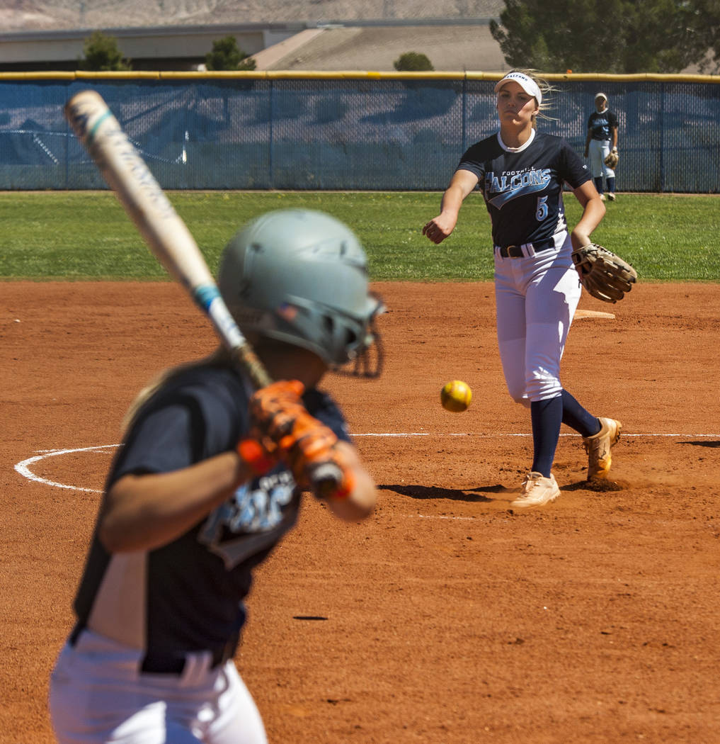 Foothill sophomore pitcher Leah Becker pitches against her senior sister Kylie Becker during practice at Foothill High School on Friday, May 5, 2018. Patrick Connolly Las Vegas Review-Journal @PC ...